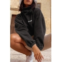 Womens Cool Letter ROCKMORE Printed Long Sleeve High Collar Drawstring Hem Black Loose Cropped Sweatshirt