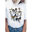 Lovely Cartoon Character Printed Short Sleeve Loose Fit White Casual T-Shirt