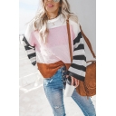 Womens Casual Streetwear Striped Long Sleeve Crew Neck Boxy Pullover Sweater Top