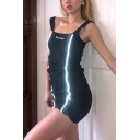 Womens Simple Reflective Striped Embroidered Letter Printed Slim Fit Mini Tank Dress in Black