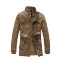 Mens Leisure Solid Color Long Sleeve Zip Closure Brown Faux PU Wash Faded Longline Jacket with Belt