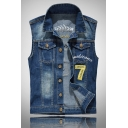 Letter Embroidery Number 7 Applique Sleeveless Lapel Single Breasted Denim Blue Casual Vest