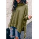 Winter Fashion Turtle Neck Long Sleeve High Low Hem Side Split Basic Plain Pullover Sweater