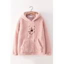 Womens Lovely Bear Printed Plain Lamb Wool Drawstring Hoodie with Pouch Pocket