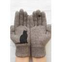 Winter Popular Cute Cat Bird Printed Warm Knit Gloves
