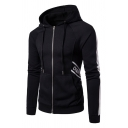 Mens Simple Striped Long Sleeve Side Letter Printed Zip Up Drawstring Hoodie with Pocket