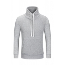 Light Gray Drawstring Stand Collar Long Sleeve Solid Color Pullover Sweatshirt with Pocket