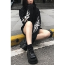 Cool Girls Stylish Chain Decoration Reflective Printed Long Sleeve Black Cropped Hoodie