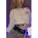 Fashion Letter FT BONES SCHOLAR Printed Long Sleeve Drawstring Hem Cropped Pullover Sweatshirt