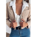 Womens Fashionable Sherpa Lined Lapel Collar Long Sleeve Button Front Corduroy Cropped Jacket Coat