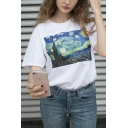 Famous Oil Painting Printed Short Sleeve Round Neck Loose White Tee Top