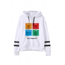 Fahrenheit Letter JOEY TRIBBIANI Printed Striped Long Sleeve White Pullover Hoodie