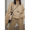 Womens Leisure Stand Collar Long Sleeve Flap Pocket Push Buckle Tied Khaki Short Cargo Jacket