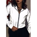 Womens Popular Streetwear Grey Long Sleeve Zip Up Reflective Cropped Coat Jacket with Hood