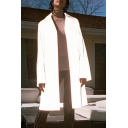 Womens Fashionable Gray Plain Notched Lapel Collar Open Front Reflective Long Trench Coat with Pocket