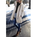 Women's Warm Whole Colored High Collar Contrast Trim Zip Up Longline Sherpa Daily Wear Coat
