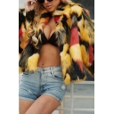 Female Fashionable Colorful Lapel Collar Long Sleeve Faux-Fur Short Coat Jacket