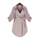 Womens Fall Basic Notched Lapel Roll Up Sleeve Tied Waist Arc Hem Solid Color Medium Length Trench Coat