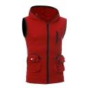 Hot Popular Red Solid Pocket Contrast Trim Sleeveless Zip Up Sport Hoodie Vest