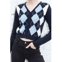 Ladies Stylish Colorblock Argyle Long Sleeve Button Front Short Slim Fit Cardigan Coat