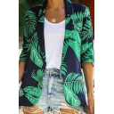 Green Leaf Printed Long Sleeve Notched Collar Open Front Slim Fit Casual Streetwear Blazer Coat