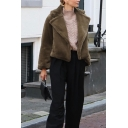 Womens Fashion Long Sleeve Notched Collar Long Sleeve Solid Color Short Plush Jacket Coat