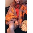 Girls Stylish Color Block Lantern Sleeve Open Front Chunky Knit Oversized Two Tone Longline Cardigan Coat