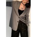 Womens Retro Grey Notched Lapel Long Sleeve Double Button Loose Fit Herringbone Blazer Suit