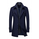 Men's Popular Scarf Collar Panel Long Sleeve Single Breasted Mid-Length Woolen Overcoat Trench Coat