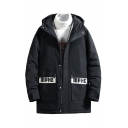 Mens Fashionable Black Letter MPHE Printed Flap Pocket Long Sleeve Zip Up Oversized Longline Hooded Down Coat