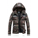Classic Camo AERE Letter Printed Long Sleeve Slim Fit Zip Placket Hooded Down Coat for Couple