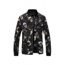 Cool Allover Skull and Smog Print Long Sleeve Stand Collar Slim Fit Zipper Casual Jacket