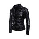 Punk Letter LIVE FREE DIE STRONG COMME DES GARCONS Printed Notch Lapel Oblique Zip Short PU Leather Jacket