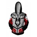 Hot Game Cosplay 3D Skull Print Colorblock Zip Up Long Sleeve Side Pocket Drawstring Hoodie