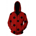 Mens Ladybug Pattern 3D Print Long Sleeve Red Zipper Pullover Hoodie with Pocket