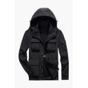 Mens Casual Simple Long Sleeve Multi Pocket Zip Placket Quick-Dry Black Hooded Utility Jacket
