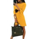 Womens Simple Cat Printed O-Neck 3/4 Tied Sleeve Casual Daily Wear Midi Dress