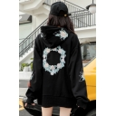 Womens Chic Floral Letter Embroidery Long Sleeve Side Split Black Baggy Drawstring Hoodie