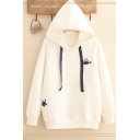 White Chic Fish and Cat Embroidery Pattern Long Sleeve Oversized Drawstring Hoodie