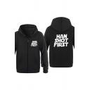 Popular Letter HAN SHOT FIRST Print Long Sleeve Zip Placket Casual Sports Hoodie