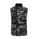 Mens Cool Camo Printed Stand Collar Sleeveless Conceal Placket Multi Pockets Outdoor Cargo Vest