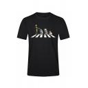 Mens Fashion Robots Zebra Crossing Printed Short Sleeve Black Fitted T-Shirt