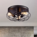 Black Caged Semi Flush Ceiling Light Industrial 3 Lights Iron Kitchen Semi Flush Mount