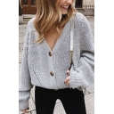 Womens Simple Plain Balloon Long Sleeve V-Neck Chunky Knit Buttoned Loose Cardigan Coat