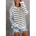 Hot Sale Two Tone Striped Long Sleeve Chunky Knit Loose Pullover Sweater