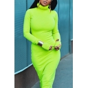 Womens Simple Solid Color Long Sleeve High Collar Maxi Tight Dress