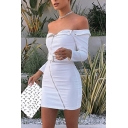 Women Sexy Plain Long Sleeve Off Shoulder Zipper Embellished Belted Mini Night Club Bodycon Dress