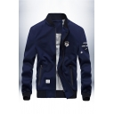 Mens Fashionable Badge Printed Chest Stand Up Collar Long Sleeve Zip Up Slim Fit Navy Blue Baseball Jacket