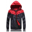 Red and Black Panel Long Sleeve Zip Up Slim Fit Two Tone Casual Sports Track Jacket Coat