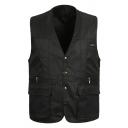 Mens Stylish Plain V-Neck Sleeveless Button Down Oversized Leisure Jacket Vest with Pocket